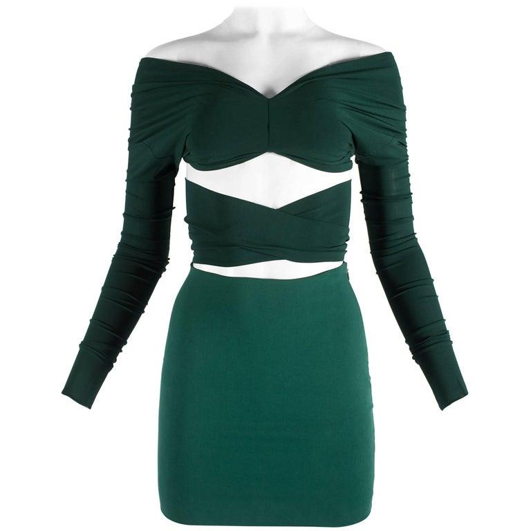 Dolce & Gabbana green viscose skirt and wrap blouse ensemble, ss 1991