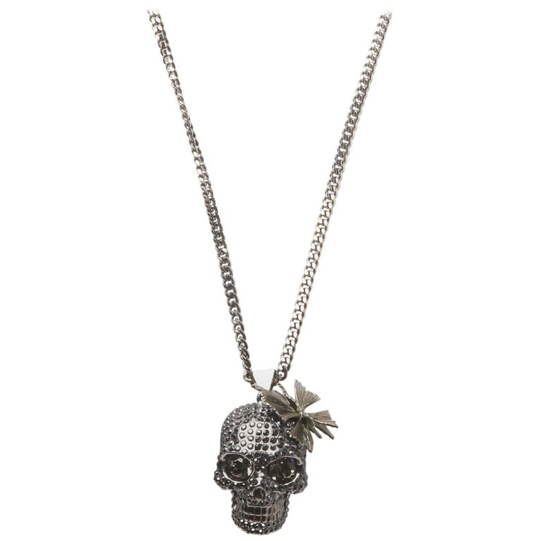 5ac35d66bd4b48 Alexander Mcqueen Skull With Erfly Pendant Necklace For At