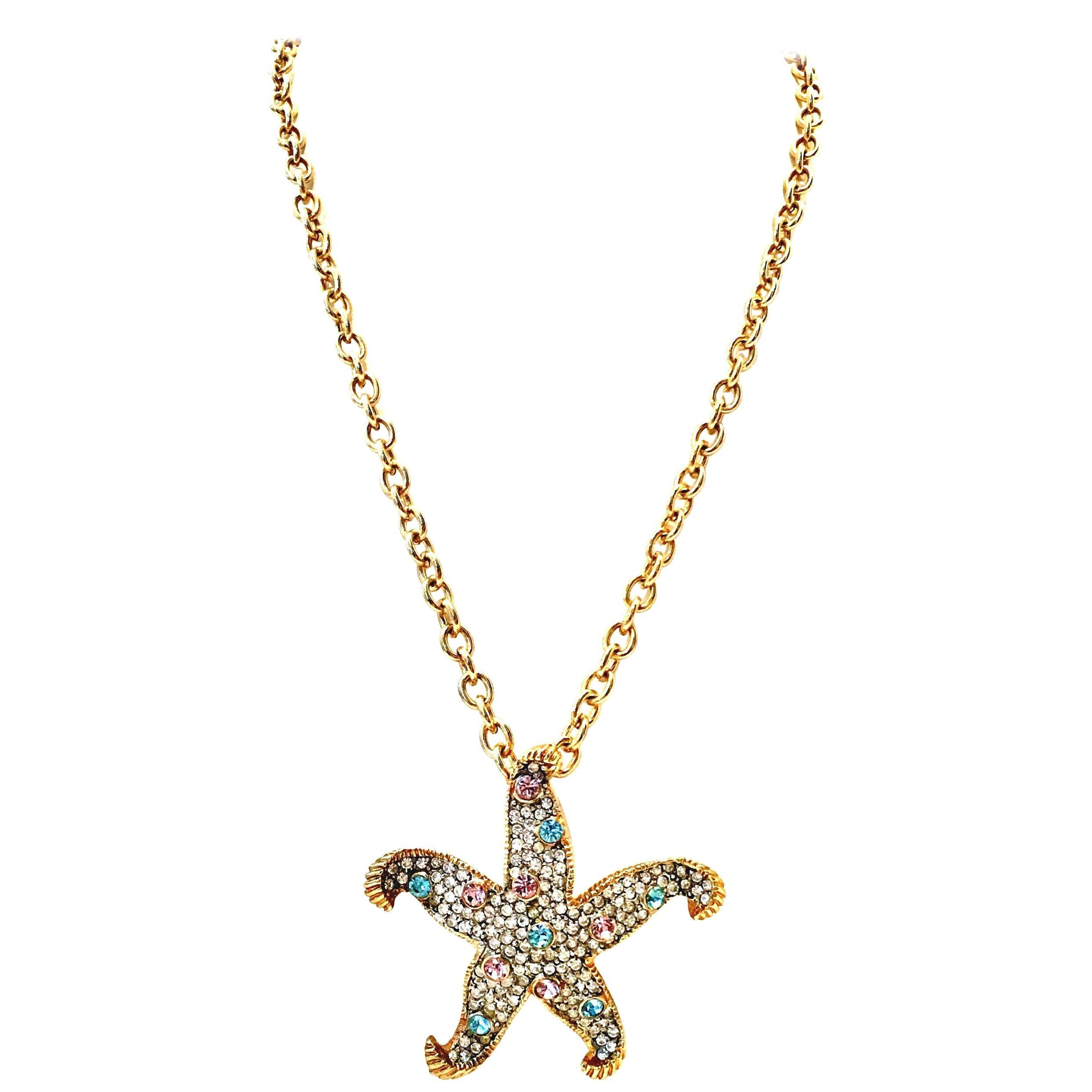 d08d8f1218b46 21st Century Gold & Swarovski Crystal Starfish Pendant Necklace By, K. Lane