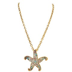 21st Century Gold & Swarovski Crystal Starfish Pendant Necklace By, K. Lane