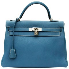 Hermes Blue Jeans Togo Leather Kelly Bag 32