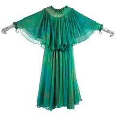 Ossie Clark green silk evening dress with print by Celia Birtwell, c. 1976