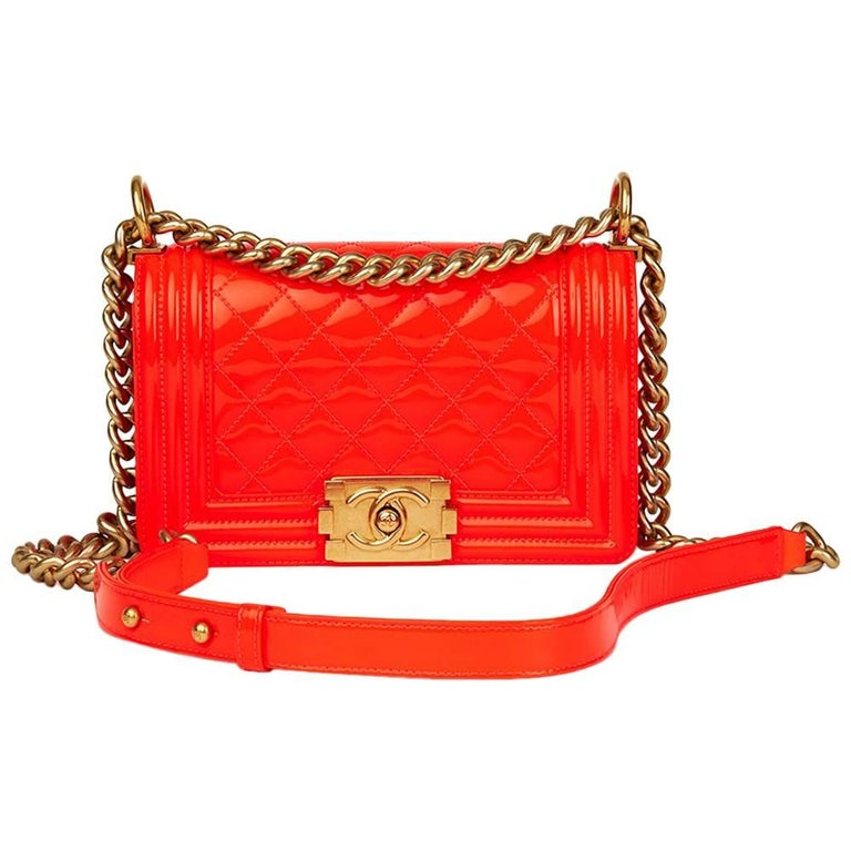 2015 Chanel Neon Red Quilted Patent Leather Small Le Boy