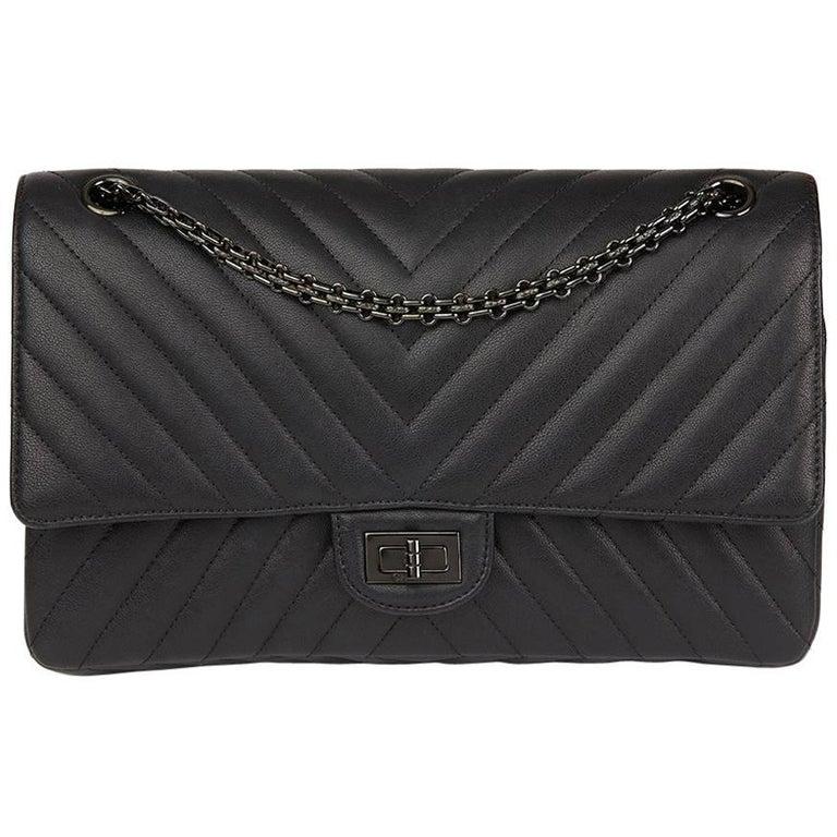 498e37606d42db 2017 Chanel Black Chevron Calfskin So Black 2.55 Reissue 226 Double Flap Bag  For Sale