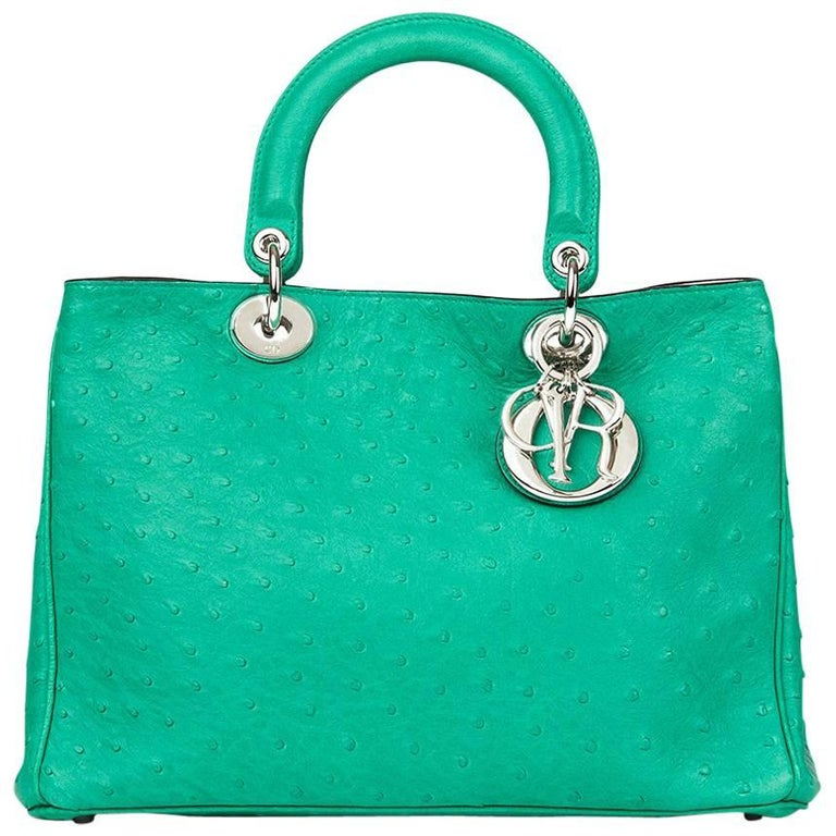 2013 Christian Dior Emerald Ostrich Leather Diorissimo MM  For Sale