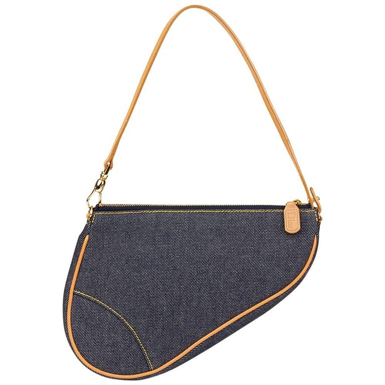 2001 Christian Dior Blue Denim Saddle Pouch