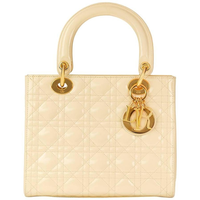 1999 Christian Dior Vanilla Quilted Patent Leather Lady Dior MM