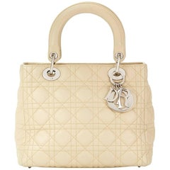 2012 Christian Dior Biege Quilted Lambskin Lady Dior MM