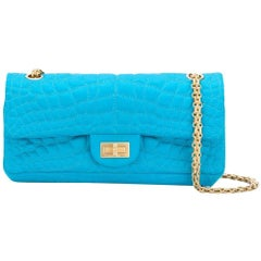Chanel Turqouise Satin East West Reissue Flap Bag