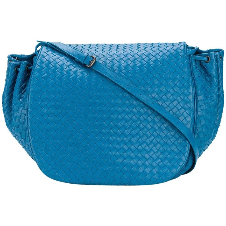 Bottega Veneta Peacock Blue Braided Flap Shoulder Bag