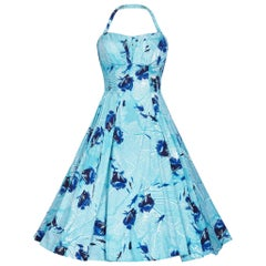 Alfred Shaheen 1950s Aquamarine Hawaiian Cotton Sundress With Novelty Fish Print