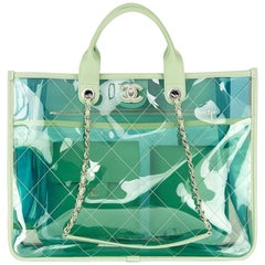 2018 Chanel Green, Blue, Pink  Lambskin & PVC Large Shopping Tote