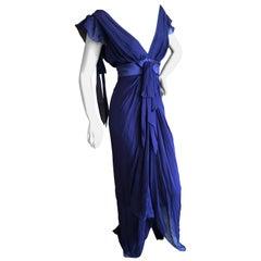 Christian Lacroix  Violet Vintage Silk Chiffon Low Cut Evening Dress