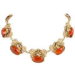 ART NOUVEAU c.1930's Floral Filigree Brass & Amber Czech Glass Choker Necklace
