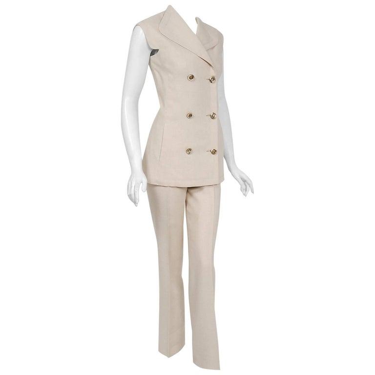 1968 Pierre Cardin Oatmeal Linen Double-Breasted Mod Tailored Pantsuit Ensemble