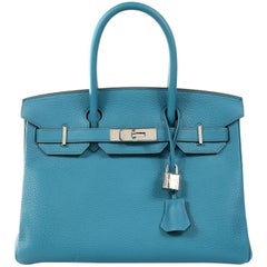 Hermès Blue Izmir Togo 30 cm Birkin Bag with Palladium HW