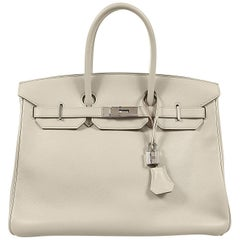 Hermès Gris Perle Swift Leather 35 cm Birkin Bag- Palladium HW
