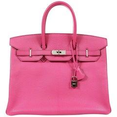 Hermès Rose Shocking Chevre 35 cm Birkin Bag- Palladium HW