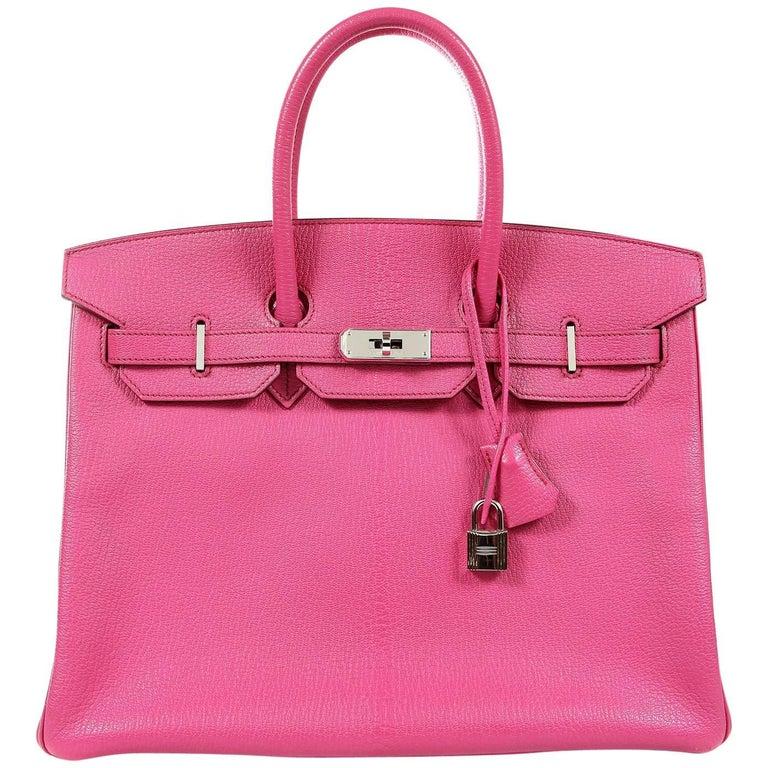b5c6b37e841b Hermès Rose Shocking Chevre 35 cm Birkin Bag- Palladium HW at 1stdibs