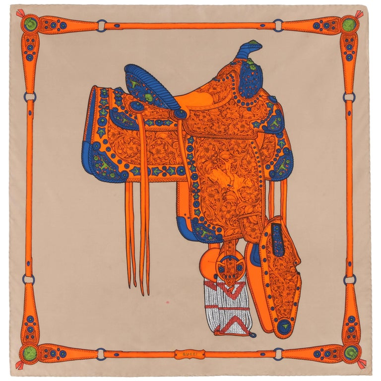 GUCCI Khaki & Orange Southwestern Saddle Equestrian Print Square Silk Scarf