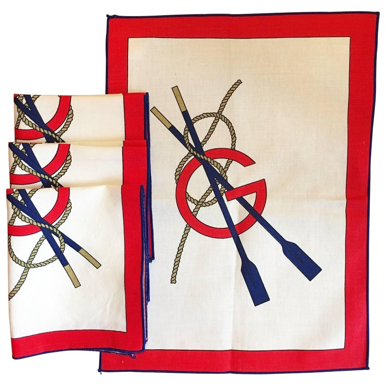 Gucci Nautical Red, White and Blue 4-Piece Cloth Napkin Set