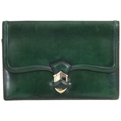 Vintage 40's Hermes Lady Clutch in Green Leather