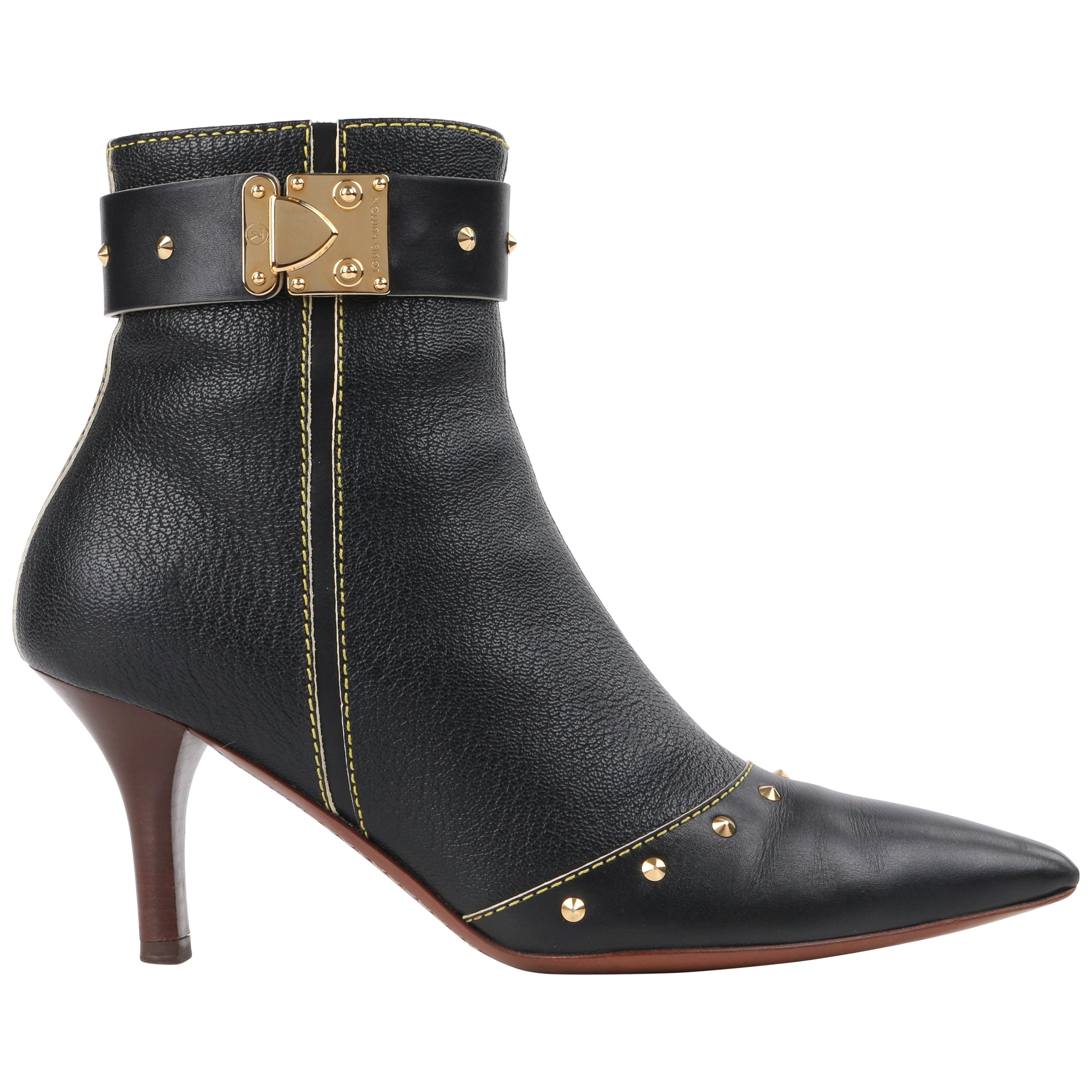 """LOUIS VUITTON c.2003 """"Suhali"""" Black Leather Gold Studded Pointed Toe Ankle Boots"""