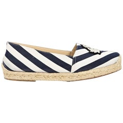 Navy Blue & White Christian Louboutin Striped Espadrilles