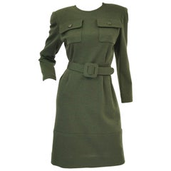 M 1980s Givenchy Couture Olive Green Wool Button Back Dress
