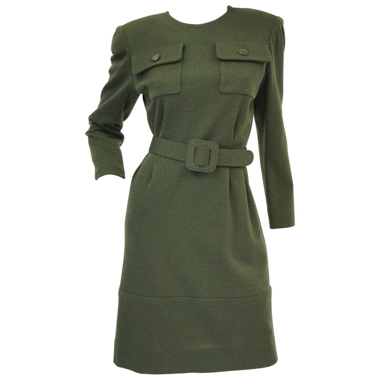 M 1980s Givenchy Couture Olive Green Wool Button Back Dress For Sale