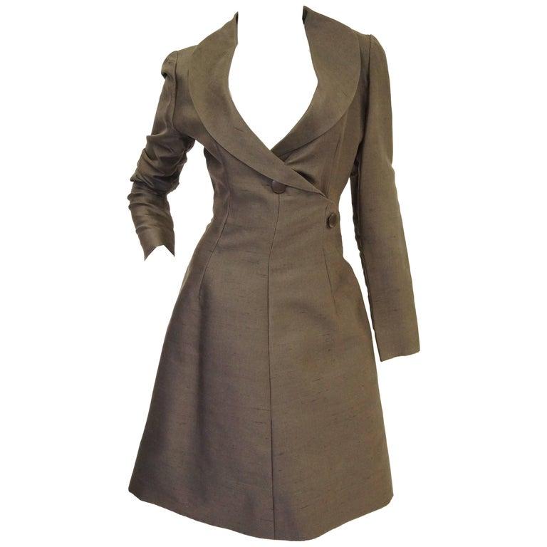 Givenchy Grey Umber Raw Silk Wrap Dress, 1960s