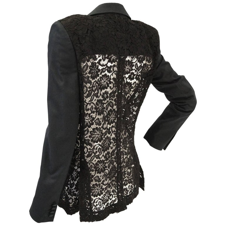 Givenchy Black Floral Lace Back Panel Blazer For Sale