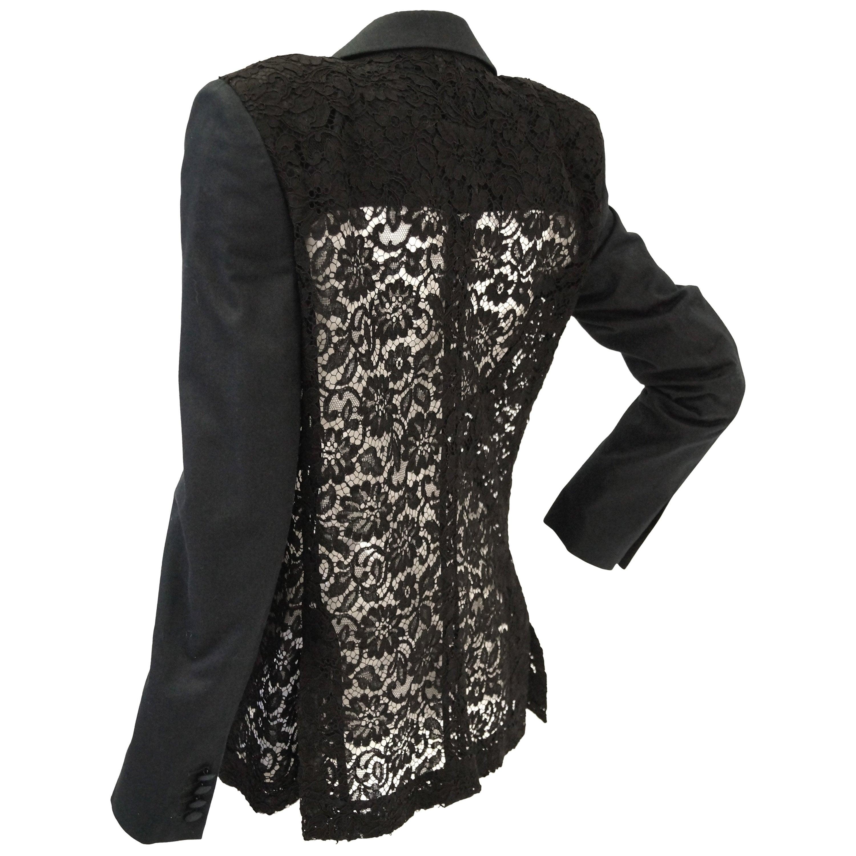 Givenchy Black Floral Lace Back Panel Blazer