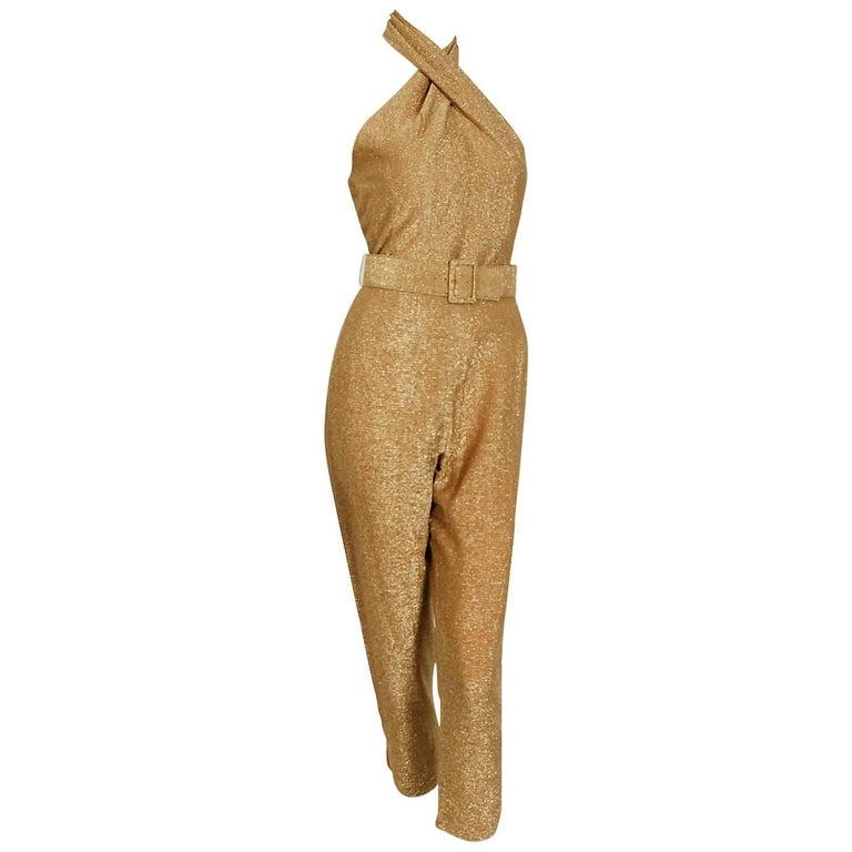 1950's Metallic-Gold Lurex Halter Blouse & Capri Pants Belted Jumpsuit Ensemble