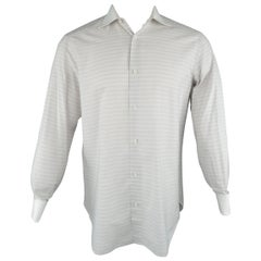 Men's BRIONI Size S Gray Stripe Cotton Contrast Collar French Cuff Long Sleeve S