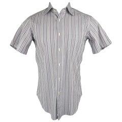 Men's ETRO Size S Lavender Striped Cotton Short Sleeve Shirt