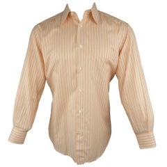 Men's BRIONI Size S Orange Stripe Cotton Long Sleeve Shirt