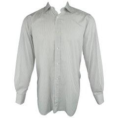 Men's BRIONI Size M Gray Stripe Cotton Long Sleeve French Cuff Shirt