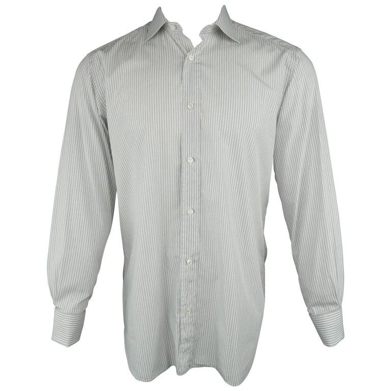 3ac5d5b6b3 Men's BRIONI Size M Gray Stripe Cotton Long Sleeve French Cuff Shirt