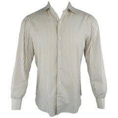 Men's ISAIA Size M White & Tan Stripe Cotton Long Sleeve Shirt