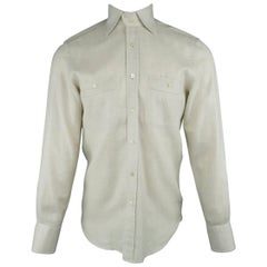 Men's TOM FORD Size S Oatmeal Beige Cotton Patch Pockets Long Sleeve Shirt