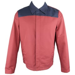 Men's PRADA 38 Burgundy & Navy Two Toned Cotton Blend Blouson Jacket