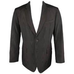 Men's PAUL SMITH 42 Black Moire Taffeta Skinny Peak Lapel Sport Coat