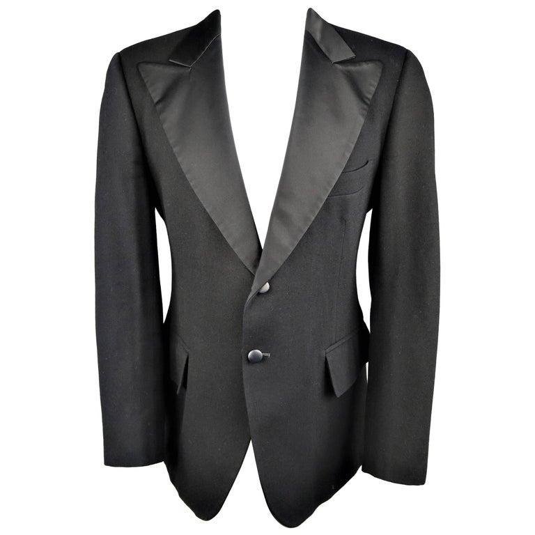 Men's YVES SAINT LAURENT 43 Regular Wool Silk Peak Lapel Le Smoking Tuxedo Jacke