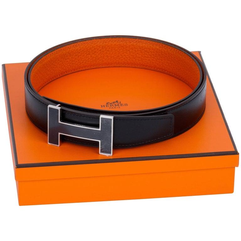 New in Box Hermes Black Orange Unisex H Belt For Sale
