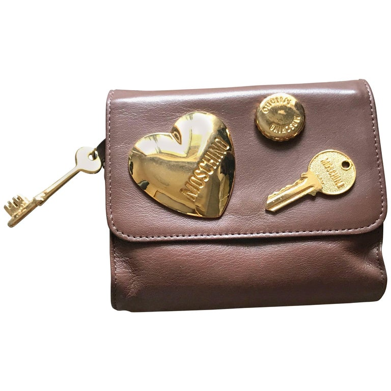 Moschino Vintage chocolate brown leather golden heart motifs clutch pouch
