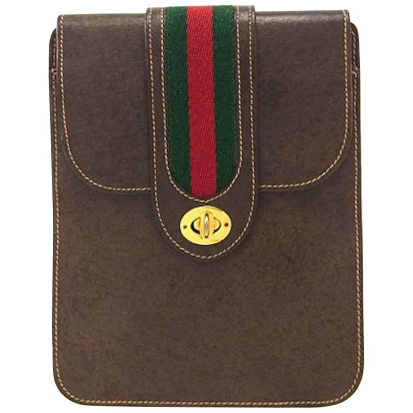 Gucci Brown Leather Red Green Stripe 2 in 1 Shoulder Fanny Pack Waist Flap Bag