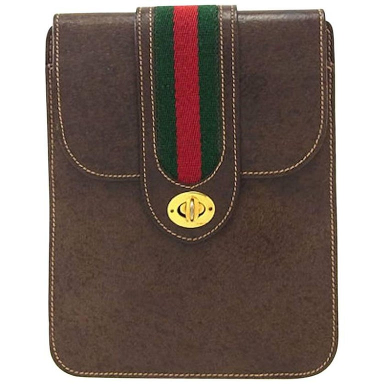 913e29720f0fe4 Gucci Brown Leather Red Green Stripe 2 in 1 Shoulder Fanny Pack Waist Flap  Bag For