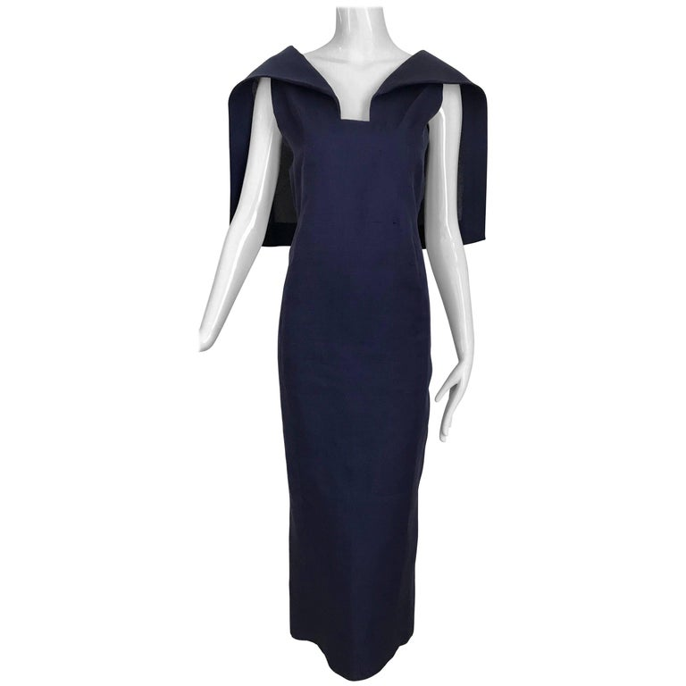 Givenchy Couture Silk Organza Blue Sheath Cocktail Dress, 1960s