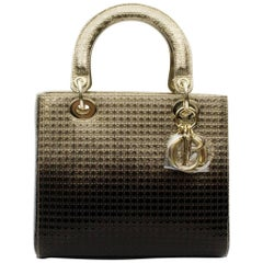 Lady Dior Bag Calf Leather Metallic And Black